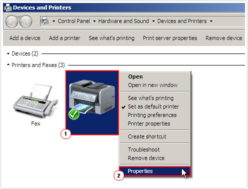 printer -> properties