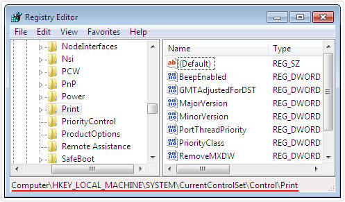 navigate to HKEY_LOCAL_MACHINE\SYSTEM\CurrentControlSet\Control\Print