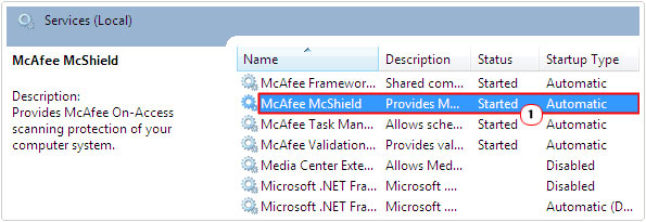 access McAfee McShield properties