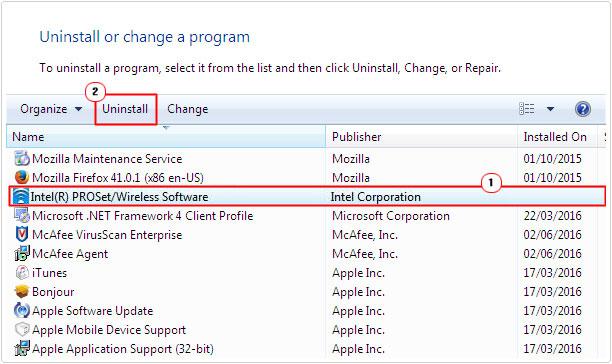 add or remove program -> Intel Wireless Software -> remove