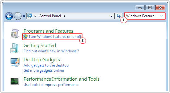 control panel -> Turn Windows feature on or off