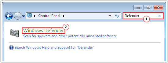search defender -> windows defender