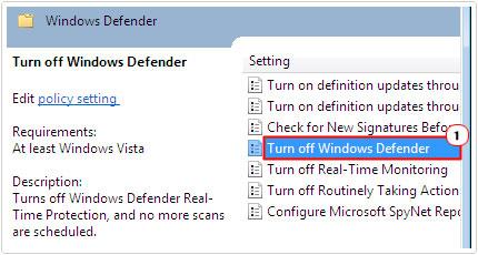 windows defender -> Turn off Windows Defender