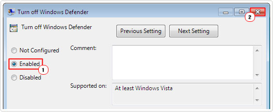 Turn off Windows Defender -> enable