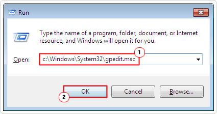 run -> C:\Windows\System32\gpedit.msc -> ok