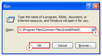 run 0> C:\Program Files\Common Files\InstallShield\ -> OK