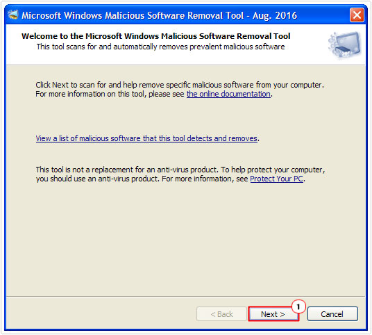Microsoft Windows Malicious Software Removal Tool -> Next