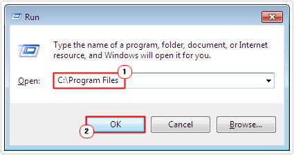 run -> program files