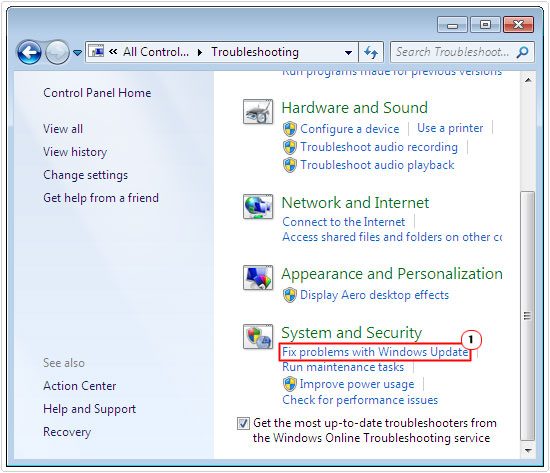 search troubleshooting -> Fix problems with Windows Update
