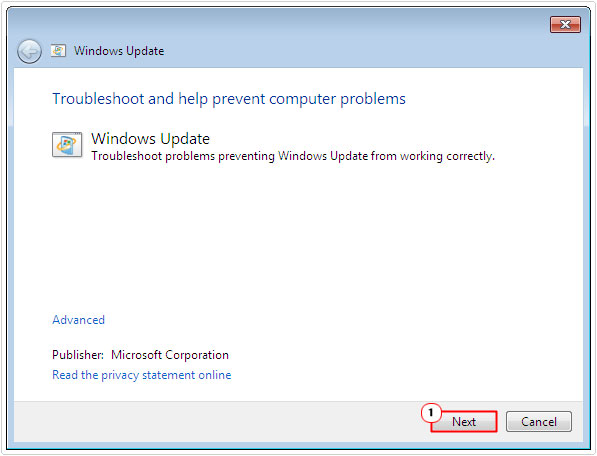 windows troubleshooter -> next