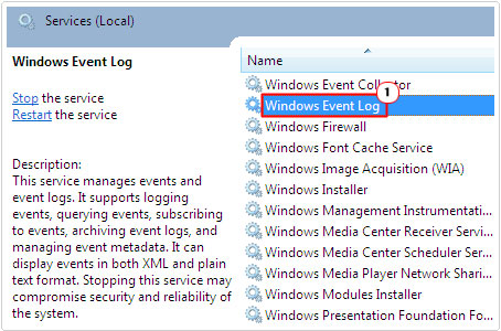 double click on windows event log in services.msc