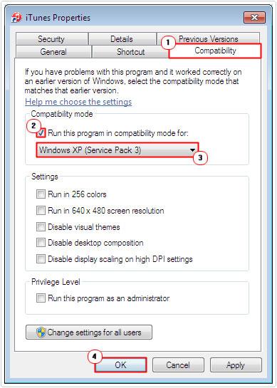 compatibility mode -> windows xp