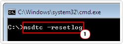 cmd -> msdtc –resetlog