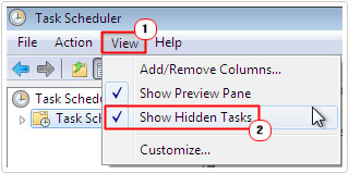 view -> Show Hidden Tasks