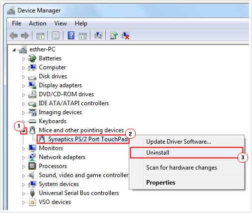 device manager -> Touchpad Device -> uninstall
