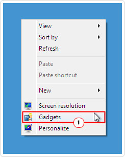right click on desktop -> gadgets