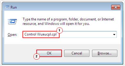 run -> Control Wuaucpl.cpl