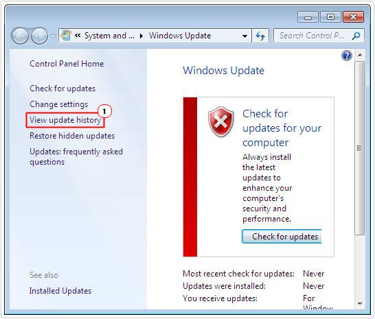 windows update -> View update history