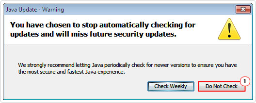java warning -> Do Not Check