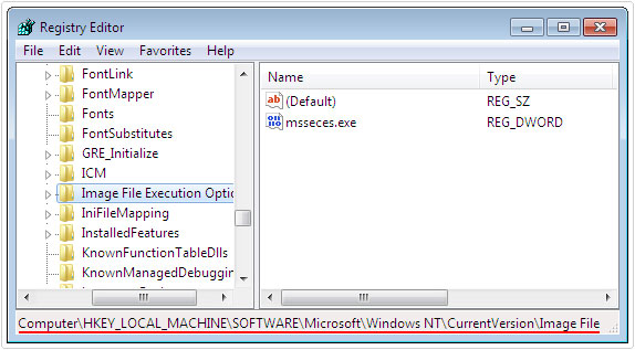 registry editor -> HKEY_LOCAL_MACHINE\SOFTWARE\Microsoft\Windows NT\Current Version\Image File Execution Options\