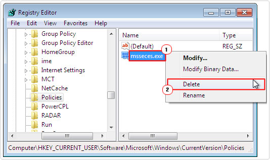 registry editor ->msseces.exe -> delete