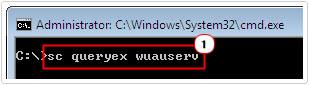 cmd -> sc queryex wuauserv