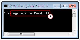 cmd -> type regsvr32 -u fm20.dll