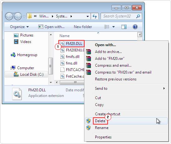 system32 -> FM20.dll -> delete