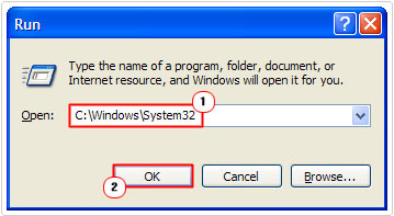 run -> C:\Windows\System32 -> ok