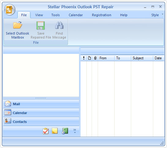 GUI of outlook pst repair