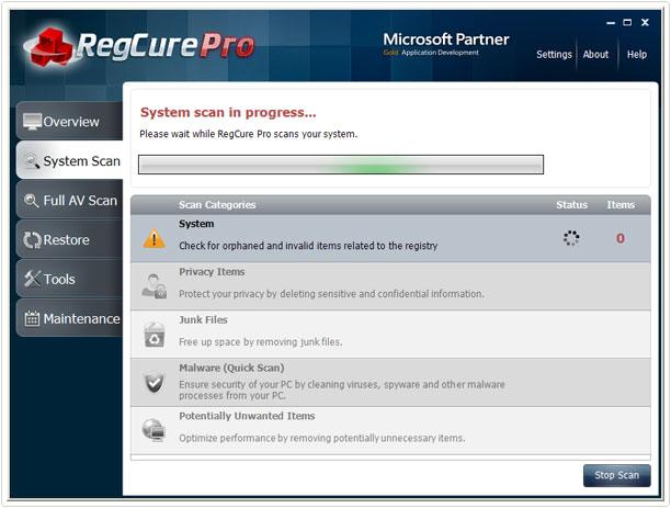 initial scan on regcure pro
