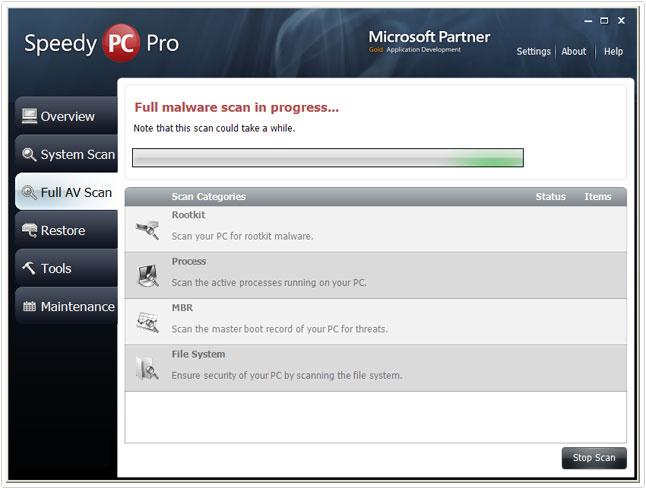 scanning for malware on speedypc pro