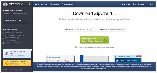 first screen in zipcloud
