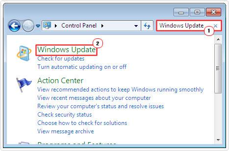 control panel -> windows update