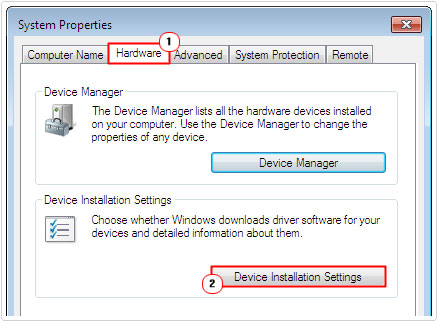 hardware tab -> Device Installation Settings