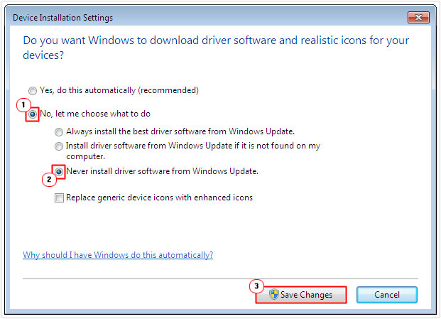 driver installation settings -> disable automatic updates