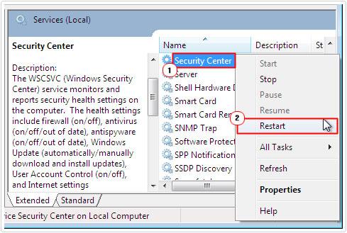 services -> Security Center -> restart