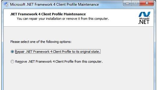 .net framework 4.0 client profile web installer