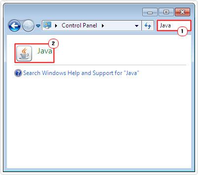 control panel -> java