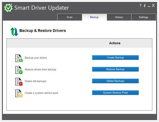 smart driver updater backup area