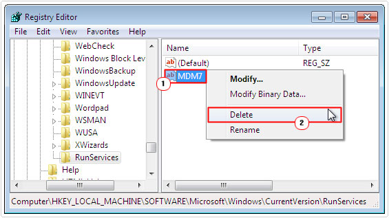 registry editor -> mdm7 -> delete
