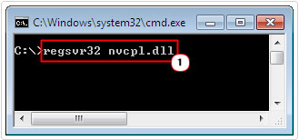 command prompt -> regsvr32 nvcpl.dll