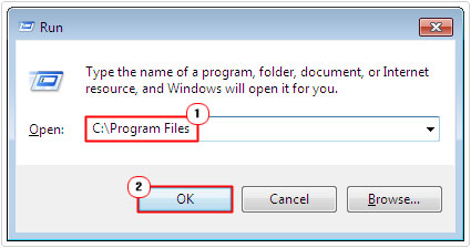run -> C:\Program Files