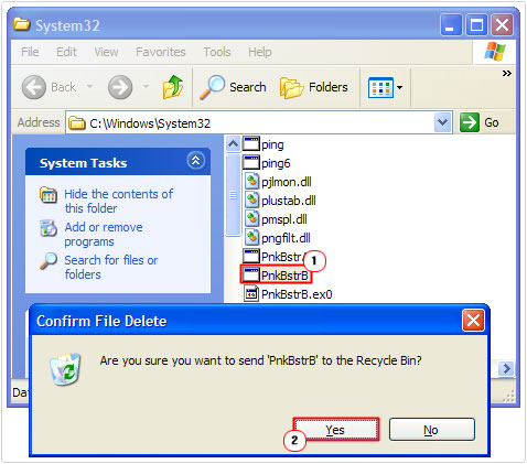 system 32 -> delete PnkBstrB file