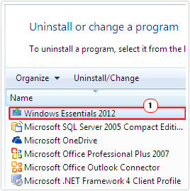 uninstall a program -> windows live -> uninstall