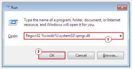 run -> Regsvr32 %windir%\system32\qmgr.dll -> ok