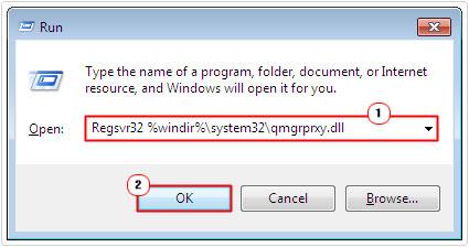 run -> Regsvr32 %windir%\system32\qmgrprxy.dll -> ok