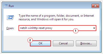 run -> netsh winhttp reset proxy -> ok