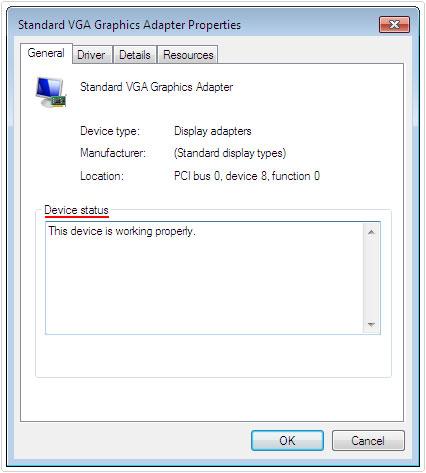 general tab -> device status