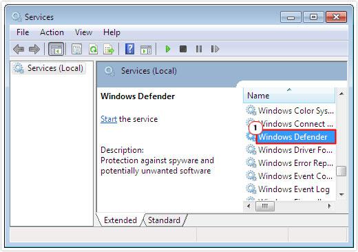 services -> Windows Defender